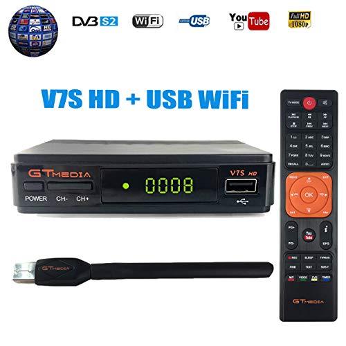 GTMEDIA V7S HD DVB-S2 Decodificador Satélite FTA Digital Receptor de TV por satélite 1080p Full HD Decoder Medidor Parabólica de TV Soporte Cccam, Youtube, Newcam, Dre y Biss Clave con USB WiFi Antena