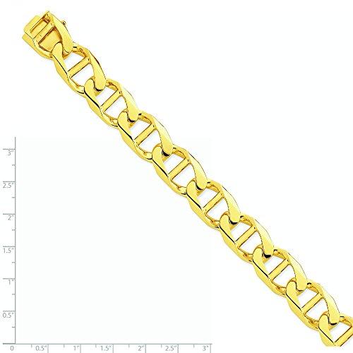 Or 14ct 15mm Poli à la main Anchor Link Bracelet Chaîne-Fermoir-Longueur Options: 20-23