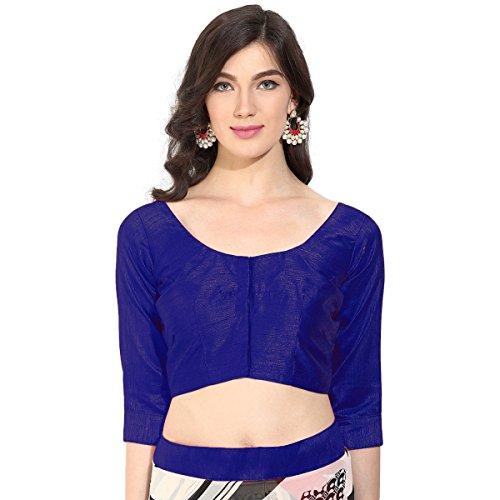Triveni blu alla moda arte seta, blusa con Backstring e latkan (nappa) Blue S