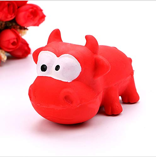 NIJY Hundespielzeug Naturlatex Süßes Tierform Klingendes Spielzeug Rotes Kalb -