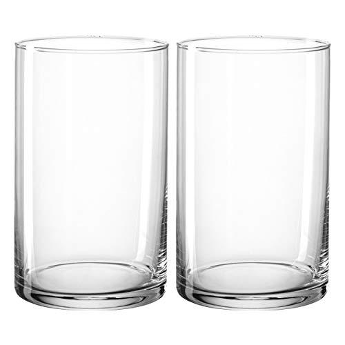 montana:: :Basic Vase, 2er Set, Blumenvase, Dekovase, Glasvase, Blumen, Glas, H 20 cm, 028898