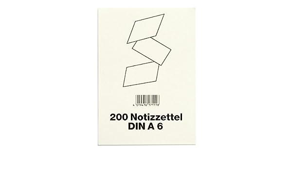 DIN A6 wei/ß Viktor Richter NZ 6200 Notizzettel f/ür Zettelkasten