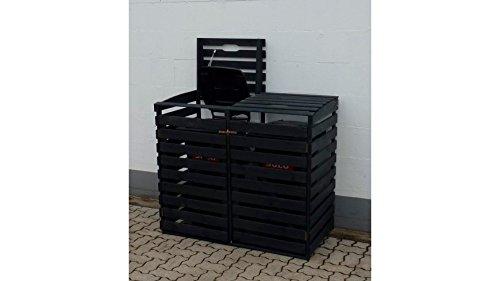 PROMADINO Mülltonnenbox, für 2x240 l aus Holz, B/T/H: 136/92/122 cm anthrazit