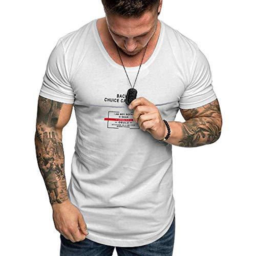Rosennie Herren T-Shirt Sommer Basic T-Shirts Rundhals-Ausschnitt Slim Fit Sport Kurzarm Bluse Männer Mode Print Kurzarm Tshirt Bluse Tops Sport Trainingsshirt Muscle Shirt
