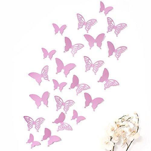 Mariposas 3D Wandkings de color LILA con detalles, conjunto de 12 piezas con puntos adhesivos