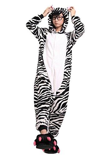 LATH.PIN Jumpsuit Tier Karton Fasching Halloween Kostüm Sleepsuit Cosplay Fleece-Overall Pyjama Schlafanzug Erwachsene Unisex Lounge Nachtwäsche S/M/L/XL (M, (Für Zebra Kostüm Erwachsene)