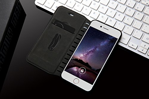iPhone 7 Coque Etui, Bonice Coque en Cuir Flip Etui Housse Folio Bookstyle Housse Portefeuille Echelle Style Coque Housse Leather Case Wallet Shell de Protection Flip Cover Protector Coquille Couvertu Échelle - Noir