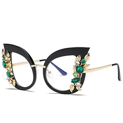 JUNHONGZHANG Sonnenbrille Große Rahmenblume Sonnenbrille Cat Eye-Sonnenbrille Straßenbrille...