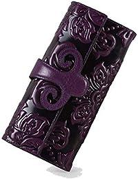 Liuxiaomiao Cartera Larga y Suave de Mujer Billetero Largo de Billetera con Monedero para Damas, Billetera de Cuero, para Mujer Doka Billetera de Cuero (Color : Purple)