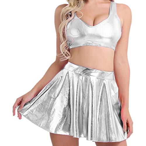 Faux Leder Herz (Tiaobug Frauen Tank Tops Lackleder BH Crop Wetlook+Minirock Damen Lack Rock glänzend Leder Optik Top und Rock Set Clubwear Outfits Silber XL)