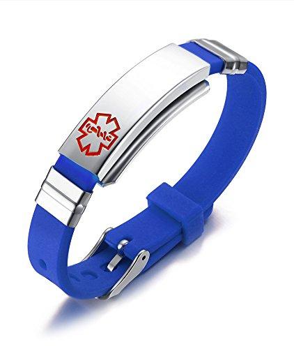 Vnox Braccialetto registrabile SOS Adesivo medico di silicone in acciaio inossidabile libero per gli uomini Blu