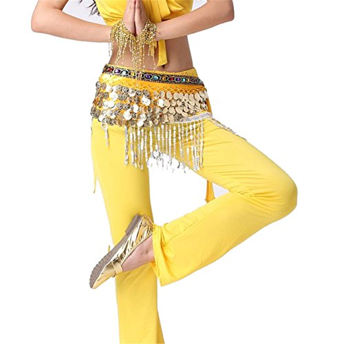 Danse du ventre costume Hip écharpe jupe Hip écharpe With 5 Rangées 408 Gold Coins Foulard Costume Colorful Crystal Ceinture yellow