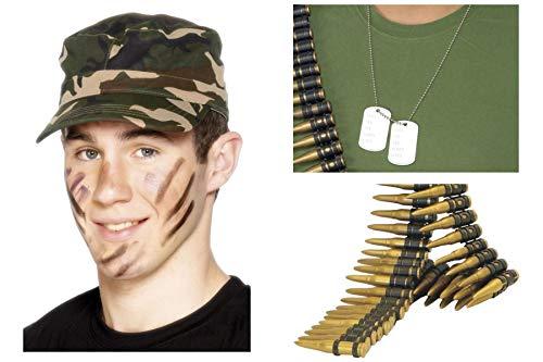 Fancy Dress World GI Joe Zubehör-Set mit Camouflage-Mütze, Gürtel, Hundemarke, Kostüm-Zubehör (Einfach Rambo Kostüm)