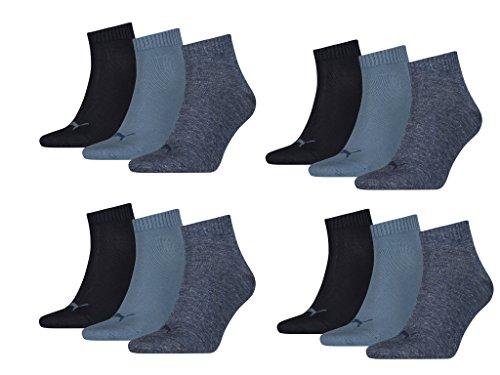 Gepolsterte Sport Quarter Socken (PUMA Unisex Quarter Quarters Socken 12er Pack, denim blue (460) 39-42 at)