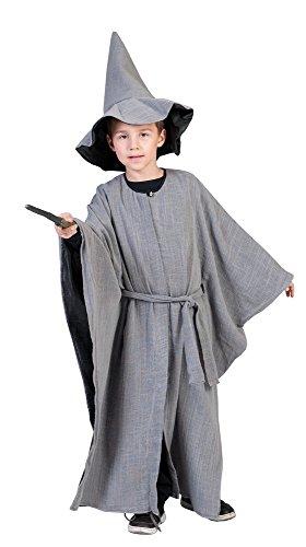 Kostüm Miittelalterlicher Zauberer in grau für Kinder Gr. 116 - (Kind Hexer Kostüm)