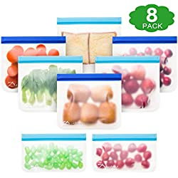 Dathuil Sac de Conservation Nourriture Réutilisables, Extra-Épais Sac de Congelation Zip, Sacs Alimentaires Reutilisable et pour Sandwichs, Fruits, Poissons (Paquet de 8)
