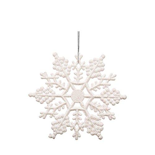 Tinksky décorations de flocon de neige 10 cm Arbre de Noël Flocons de neige pièces pour ornements de Noël 12pcs (Blanc)