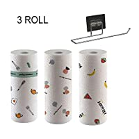 3 Rolls Disposable Cleaning Towel with Wall-mount Holder 50pcs/Roll Cartoon Printed Kitchen Dish Cleaning Towel Reusable Non-Woven Fabric Dish Cloth 9.84 * 9.84in