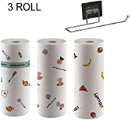3 Rolls Disposable Cleaning Towel with Wall-mount Holder 50pcs/Roll Cartoon Printed Kitchen Dish Cleaning Towe