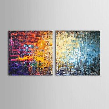 WSS dipinti ad olio set di 2 moderni mattoni di colore astratto tele dipinte a mano pronti da