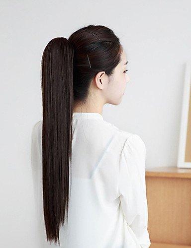 40,6 cm Griffe clip perruque femme queue de cheval droite synthétique 2 couleurs disponibles