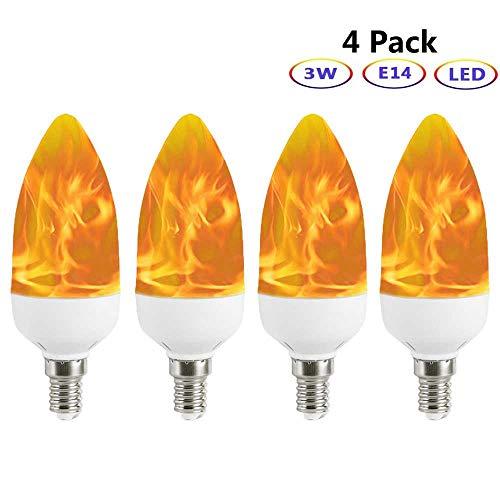 hbirne, Auccy E14 LED Flammeneffekt Birne Kandelaber Flamme Glühbirne wahre Feuer Dekorative Licht für Valentinstag/Hochzeit/Restaurants/Party/Festival, 4 Pack ()