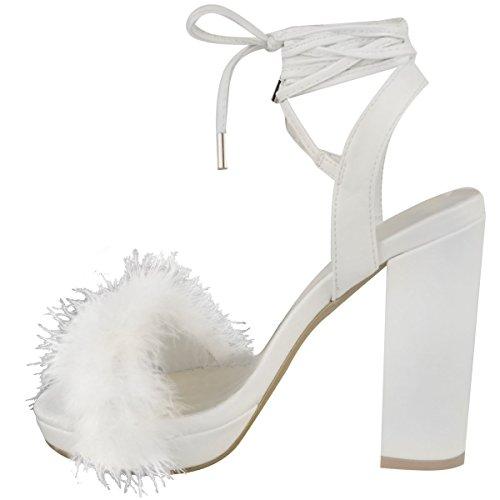 Donna A blocco Sandali Tacco Alto Alla caviglia Legare Pelo Con bretelline Plateau misura UK Bianco Similpelle