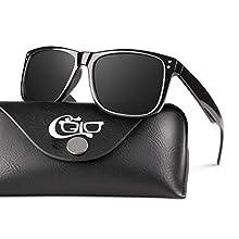 CGID Mens Sunglasses Womens Polarised Retro Designer Sport Unisex Polarized Cool Unbreakable Driving Sun Glasses Shades Square Glossy Black TR90 Frame Black Lens UV Protection M02
