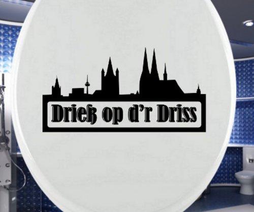 Aufkleber WC Deckel, Köln Spruch Drieß op d'r Driss' Toilettendeckel Sticker, Skyline Tattoo Tür Bad Wandtattoo 3C033