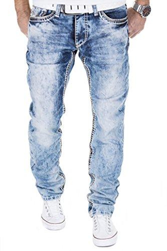 MERISH Hommes Jeans Pantalon avec décoratifs coutures épaisses dans diverses couleurs StraightFit Modell J9574 Jaune
