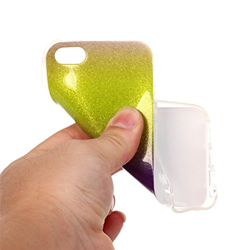iPhone 5C Coque, 5C Coque, Lifeturt [ Violet ] Etui Transparent élégant TPU Gel Coque Silicone Shell Housse 3D Case Cover Motif Impression Creative Ultra Mince Cas Sac Skin Protection Shell Pratique C E02-Jaune Violet