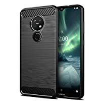 For Nokia 7.2 Case Ultra Slim Shock Absorption Soft TPU Drawing Protective Cases Cover (Black)