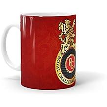 Macmerise RCB Emblem Ceramic Cofee Mug, 11 oz (Multicolour, Standard Size)
