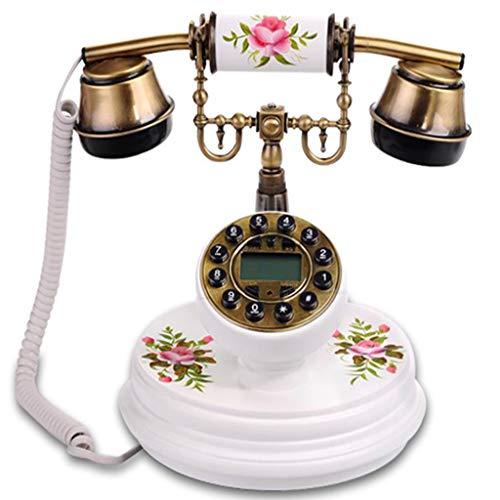 etro Telefon/Antike Telefon, Massivholz Und Metall KöRper, Wohnzimmer BüRo Dekoration (Weiß) ()