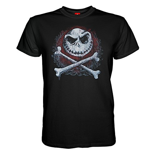 King of Merch - Herren T-Shirt - Nightmare Before Christmas Cross Bones Skellington Faces Zero Sally Oogie Boogie Dr. Finklestein Tim Burton Klassiker Weihnachtsmann Halloween Schwarz - L'halloween Boogie