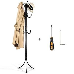Garderobenständer Metall, Cozzine 175cm Kleiderständer Schwarz Stabil Garderobe für Büro, am Eingang, im Flur, Wohnzimmer, Schlafzimmer etc