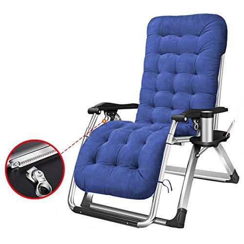 Liegestuhl, Folding Zero Gravity gepolsterter Stuhl, verstellbare Lounge-Liege für hohe Beanspruchung mit freiem Getränkehalter (blau), Unterstützung £ 330 - Doppel-liege Stuhl