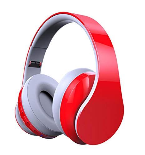 Noise Cancelling Bluetooth-Kopfhörer, Noise Cancelling Wireless-Over-Ear-Kopfhörer mit High Clarity Sound Leistungsstarke Bässe, für die Reise TV PC-Handy, Rote Asche -