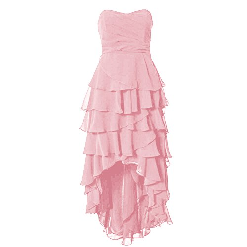 Find Dress Robe de Soirée Asymétrique Longue Robe Cocktail/Cérémonie Multicouche Ourlet sans Manches en Mousseline Col en Cœur Rose