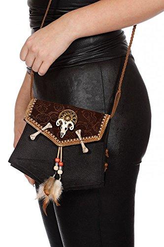 shoperama Voodoo Handtasche klein mit Knochen Perlen und Federn Kostüm-Zubehör Tasche Bag Halloween