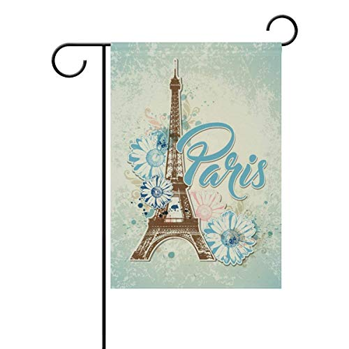 Axige888 Paris Eiffel Tower Flowers Seasonal Holiday Garden Yard House Flag Banner 12 x 18 inches Decorative Flag for Home Indoor Outdoor Decor