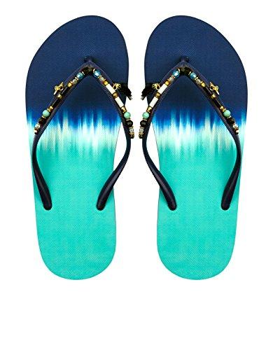 Monsoon Eklektische perlenbesetzte EVA-Flip-Flops mit Farbverlaufseffekt Blau