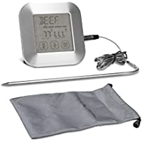 kwmobile Termómetro de cocina digital - Termómetro de horno con pantalla LCD táctil - Pincho acero inoxidable para alimentos líquidos y sólidos