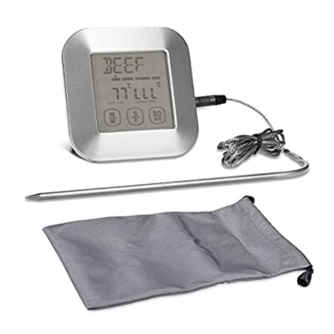 kwmobile Digital roasting thermometer grill thermometer meat thermometer - Meat steak oven BBQ Timer - Chronometer thermometer temperature display