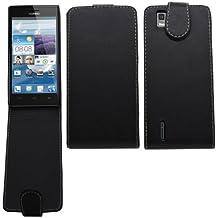 Samrick - Funda con tapa para Huawei Ascend P2 (piel), color negro