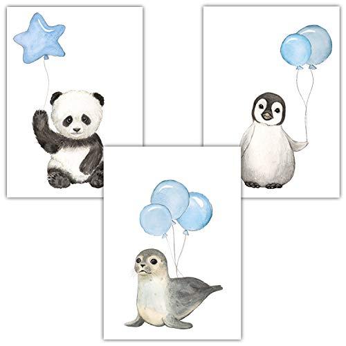 Frechdax® 3er Set Kinderzimmer Poster Baby Bilder DIN A4 | Waldtiere Safari Afrika Tiere Tierposter Luftballon Ballon Farbwahl (3er Set Blau, Pinguin, Panda, Seehund)