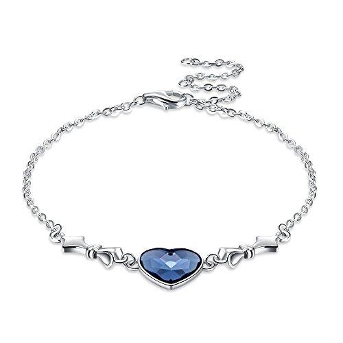 Longwu ❤swarovski bracciale braccialetto regolabile in argento sterling 925 con elegante zaffiro blu cuore cristallo compleanno anniversario gioielli da sposa regali per moglie figlia madre fidanzata