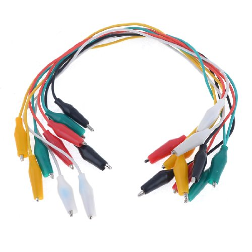 Aexit 10PCS Colorful Double Ended Alligator Clips Test Lead Jumper Wires