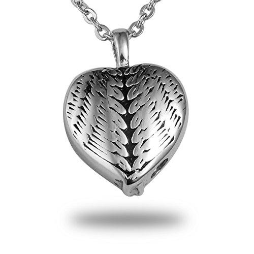 HooAMI de plumas diseño de corazón colgante de ala de Ángel cremación cenizas collar