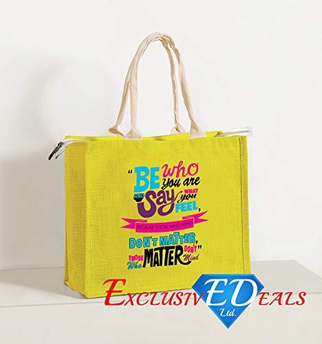 Jute Einkaufstasche Sackleinen Eco wiederverwendbar Geschenk Tote Lunch Handtasche-30cm (H) X 34cm (W) (Be Who You Sind) -